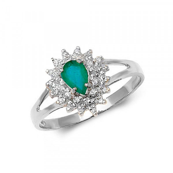 Gemstone Ring With 0.35ct Pear Shape Emerald and Diamonds