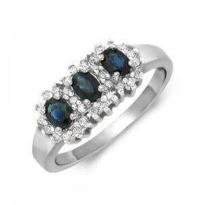 Halo Trilogy Diamond and sapphire rings