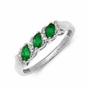 S-Link Trilogy Diamond and emerald ring