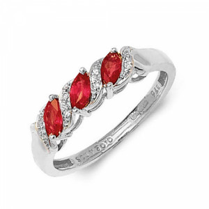 S-Link Trilogy Diamond and ruby Gemstone Ring