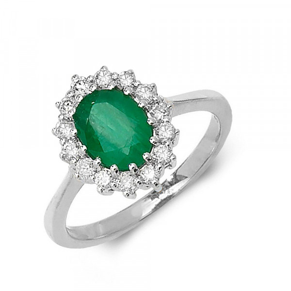 Gemstone Ring With 1.25ct Oval Shape Emerald and Diamonds