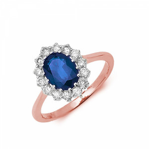 Gemstone Ring With 1.25ct Oval Shape Blue Sapphire and Diamonds