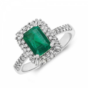 Gemstone Ring With 0.85ct Emerald Shape Emerald and Diamonds
