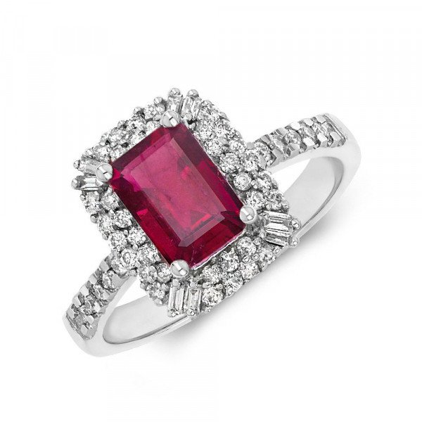 Gemstone Ring With 0.85ct Emerald Shape Ruby and Diamonds