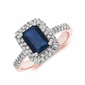 Gemstone Ring With 0.85ct Emerald Shape Blue Sapphire and Diamonds