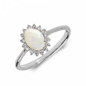 Gemstone Ring With 0.5ct Oval Shape Opal and Diamonds