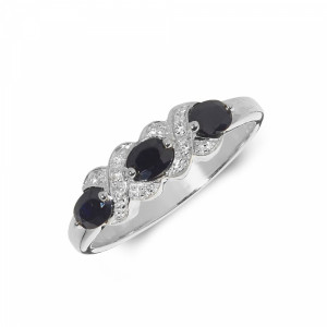 Kissing Diamond and sapphire rings