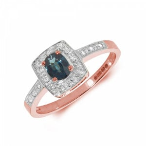 Gemstone Ring With 0.35ct Oval Shape Blue Sapphire and Diamonds
