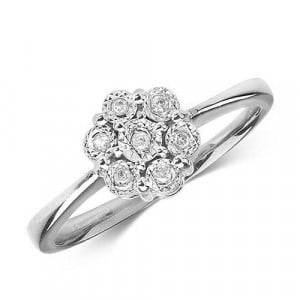 Flower Cluster  Illusion Set Diamond Ring (8.0mm)