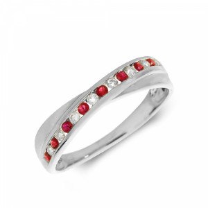 Channel Setting Cross Over Diamond and ruby Gemstone Ring