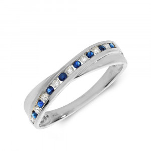 Channel Setting Cross Over Diamond and sapphire rings