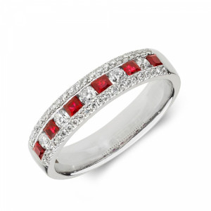 Cluster Diamond and ruby Gemstone Ring