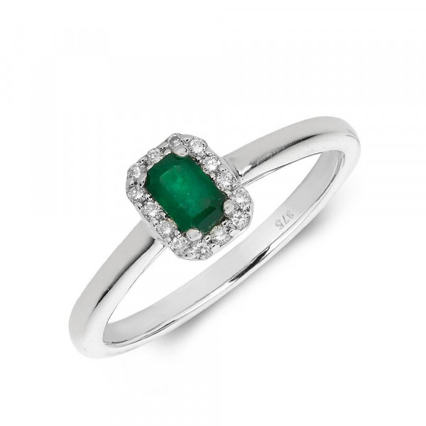 Gemstone Ring With 0.3ct Emerald Shape Emerald and Diamonds