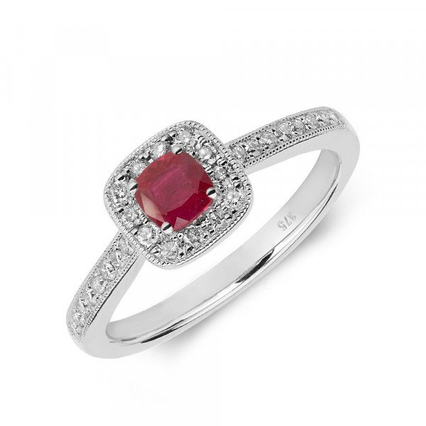Gemstone Ring With 0.3ct Cushion Shape Ruby and Diamonds