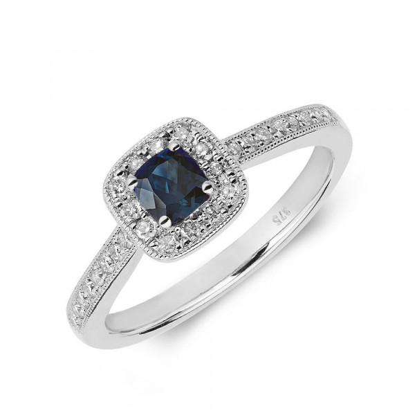 Gemstone Ring With 0.3ct Cushion Shape Blue Sapphire and Diamonds