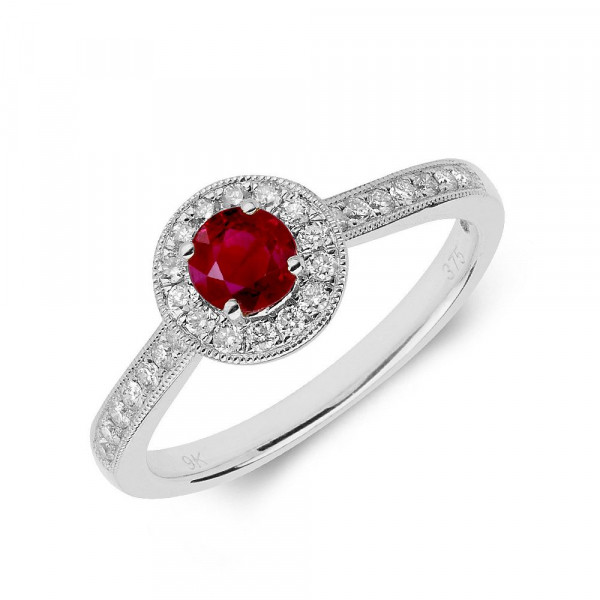 Gemstone Ring With 0.35ct Round Shape Ruby and Diamonds