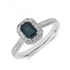 Gemstone Ring With 0.6ct Emerald Shape Blue Sapphire and Diamonds