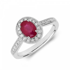 Gemstone Ring With 0.75ct Oval Shape Ruby and Diamonds