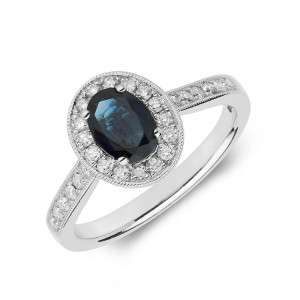 Gemstone Ring With 0.75ct Oval Shape Blue Sapphire and Diamonds