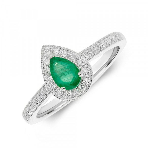 Gemstone Ring With 0.3ct Pear Shape Emerald and Diamonds