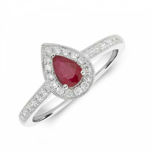 Gemstone Ring With 0.3ct Pear Shape Ruby and Diamonds