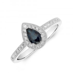 Gemstone Ring With 0.3ct Pear Shape Blue Sapphire and Diamonds