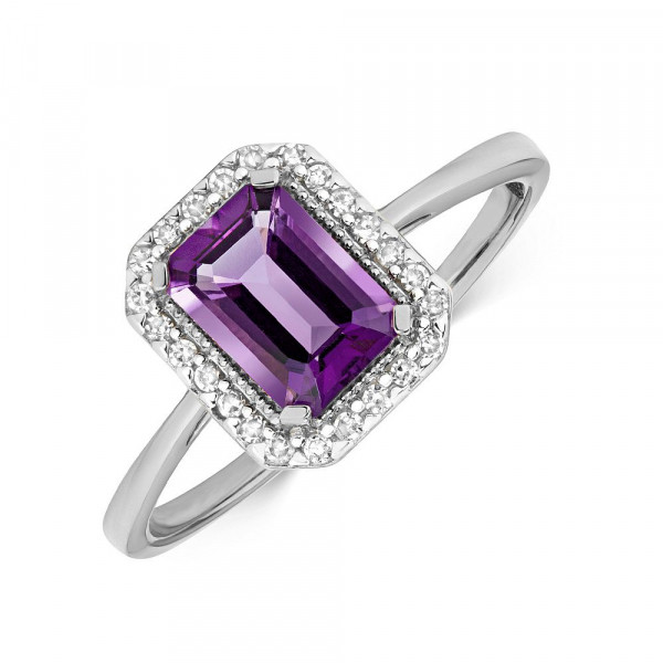 Gemstone Ring With 7X5mm Emerald Shape Amethyst and Diamonds