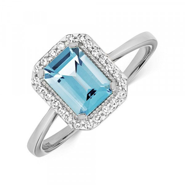 Gemstone Ring With 7X5mm Emerald Shape Blue Topaz and Diamonds