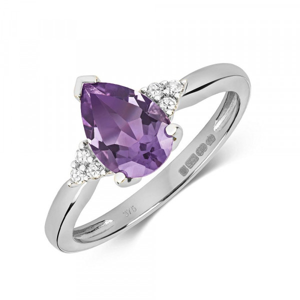 Gemstone Ring With 9X6mm Pear Shape Amethyst and Diamonds