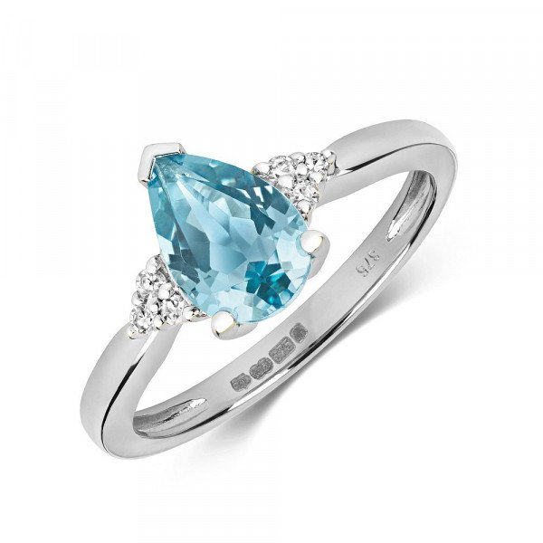 Gemstone Ring With 9X6mm Pear Shape Blue Topaz and Diamonds