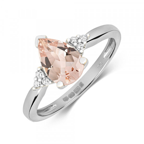 Gemstone Ring With 9X6mm Pear Shape Morganite and Diamonds