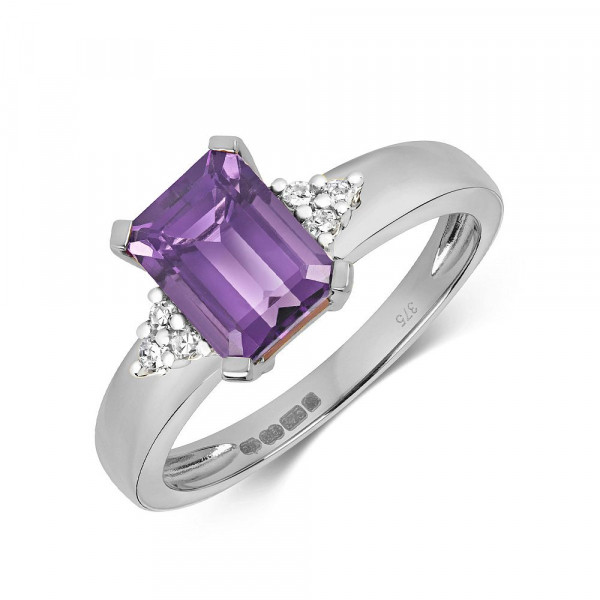 Gemstone Ring With 9X6mm Emerald Shape Amethyst and Diamonds