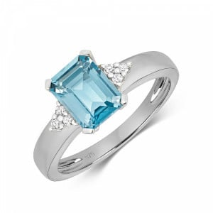 Gemstone Ring With 9X6mm Emerald Shape Blue Topaz and Diamonds