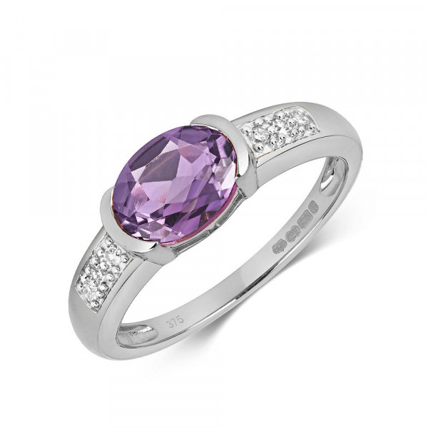 Gemstone Ring With 8X6mm Oval Shape Amethyst and Diamonds