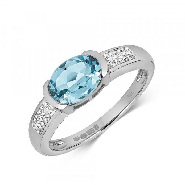 Gemstone Ring With 8X6mm Oval Shape Blue Topaz and Diamonds