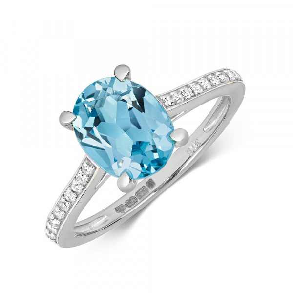 Gemstone Ring With 9X7mm Oval Shape Blue Topaz and Diamonds