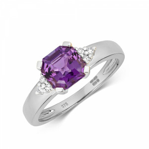 Gemstone Ring With 6.5mm Asscher Shape Amethyst and Diamonds