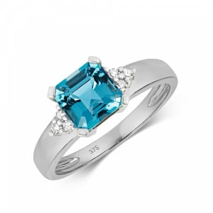Gemstone Ring With 6.5mm Asscher Shape Blue Topaz and Diamonds