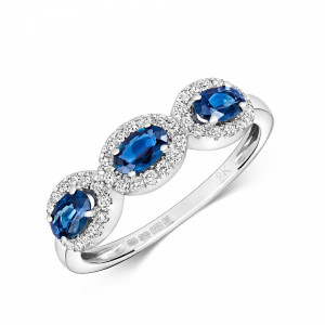 Gemstone Ring With 0.85mm Oval Shape Blue Sapphire and Diamonds