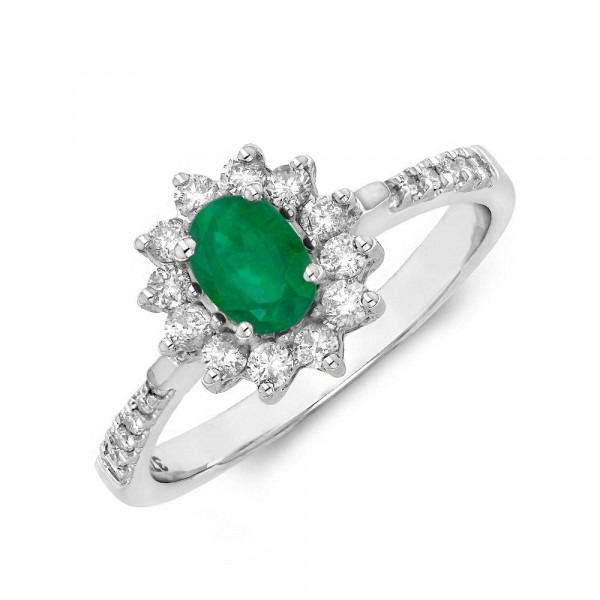 Gemstone Ring With 0.35ct Oval Shape Emerald and Diamonds