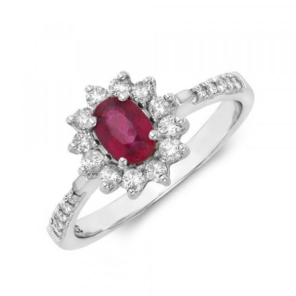 Gemstone Ring With 0.35ct Oval Shape Ruby and Diamonds