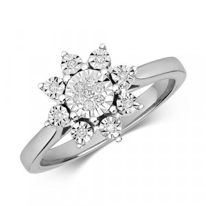 Big Flower Cluster Illusion Set Diamond Ring (10.0mm)