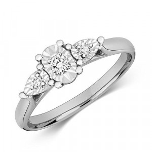 Oval and Pear Shape Trilogy Illusion Set Diamond Ring (6.0mm)