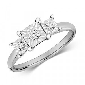 Princess Shape Trilogy Illusion Set Diamond Ring (5.0mm)