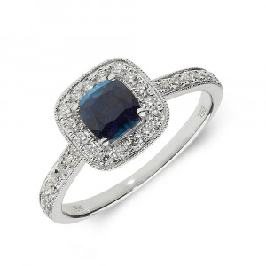 Gemstone Ring With 0.6ct Cushion Shape Blue Sapphire and Diamonds