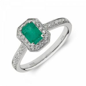 Gemstone Ring With 0.8ct Emerald Shape Emerald and Diamonds