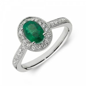 Gemstone Ring With 0.7ct Oval Shape Emerald and Diamonds
