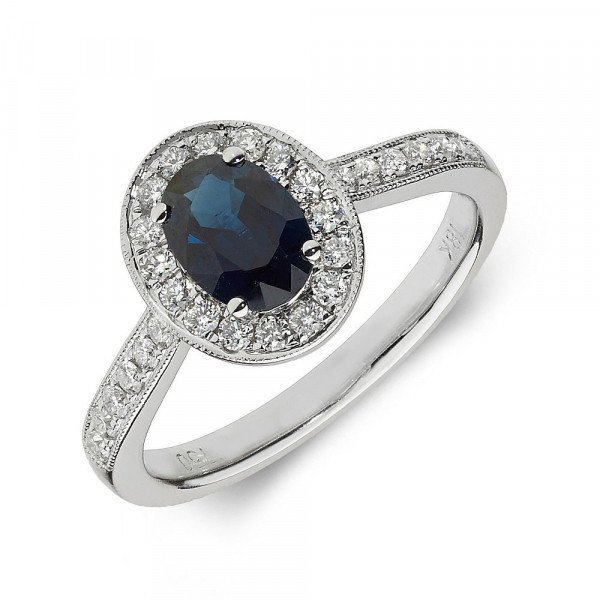 Gemstone Ring With 0.7ct Oval Shape Blue Sapphire and Diamonds