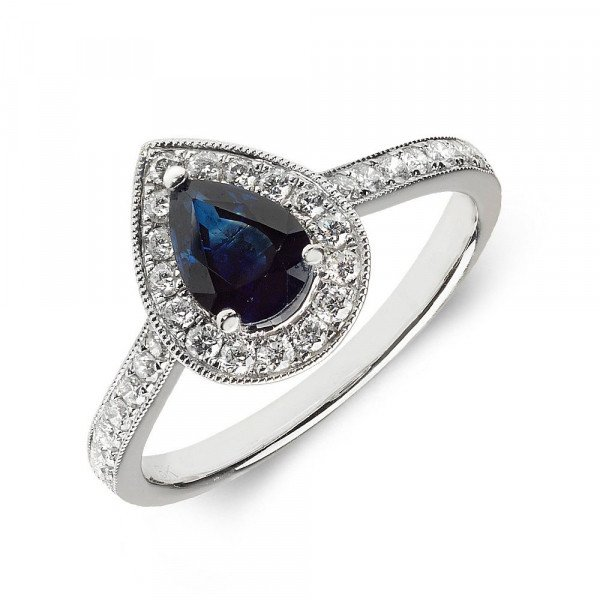 Gemstone Ring With 0.7ct Pear Shape Blue Sapphire and Diamonds