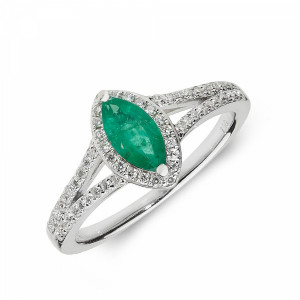 Gemstone Ring With 0.5ct Marquise Shape Emerald and Diamonds